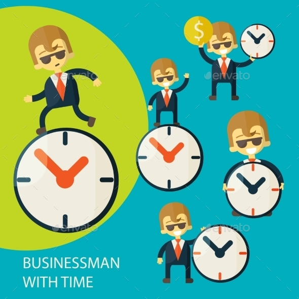 Set of Businessmen and Clock