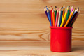 Many Different Colored Pencils On Wooden Table - PhotoDune Item for Sale