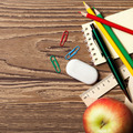 Back To School Concept On Wooden Table. - PhotoDune Item for Sale