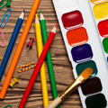 Back To School Concept On Wooden Table. Watercolor Paints And Colorful Pencils. - PhotoDune Item for Sale