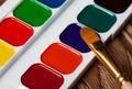 Watercolor Paints And Brush. Macro Image. - PhotoDune Item for Sale