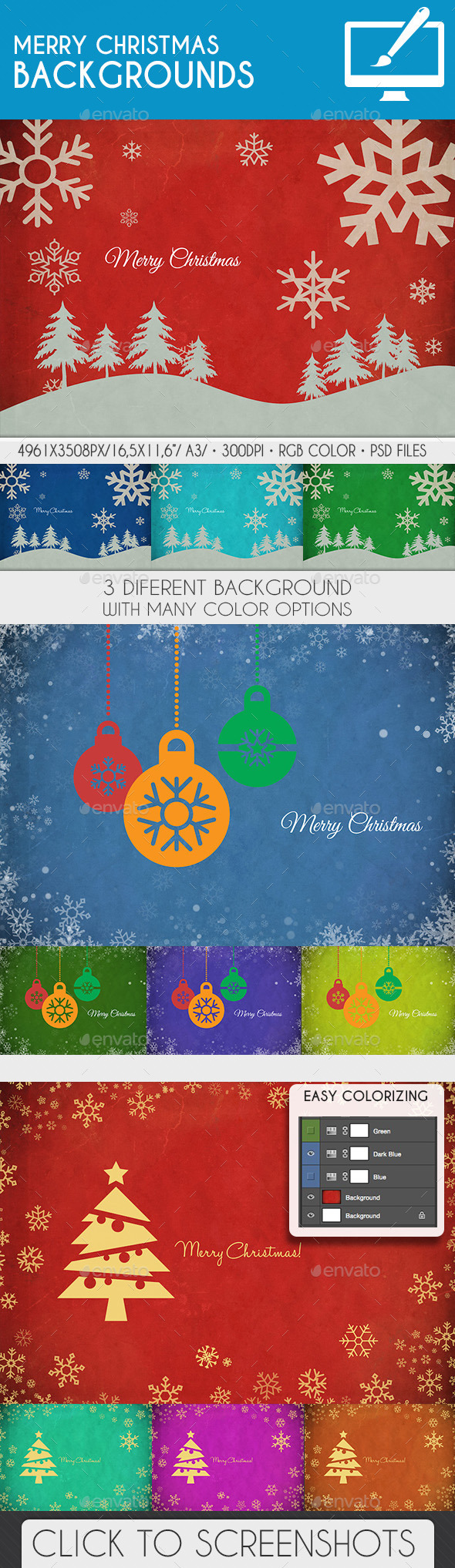 GraphicRiver Vintage Merry Christmas Background PSD 9413995