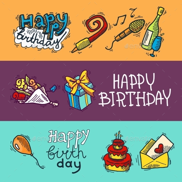 GraphicRiver Birthday Sketch Banner Set 9414046