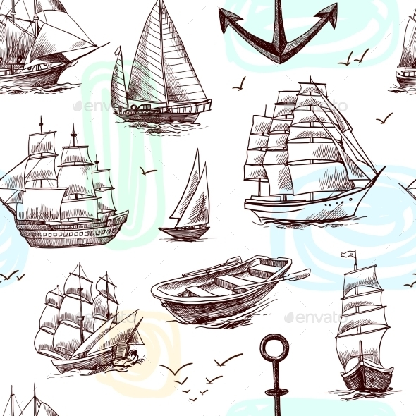 GraphicRiver Ships and Boats Sketch Seamless Pattern 9414055