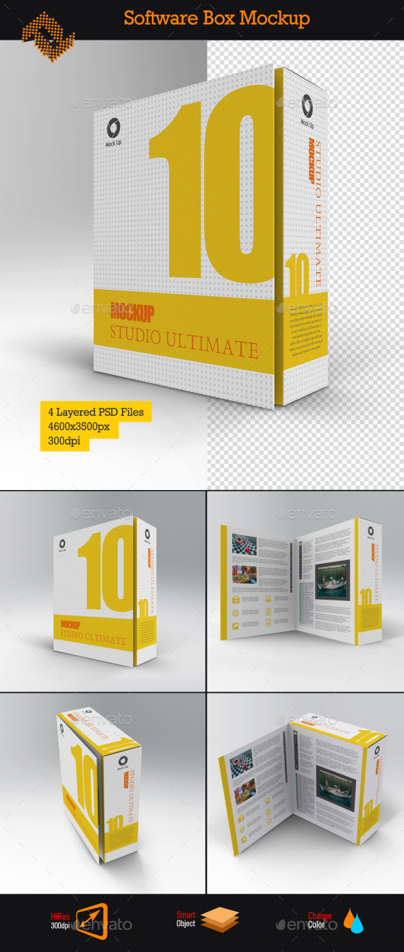 Software Book Style Box Mockup
