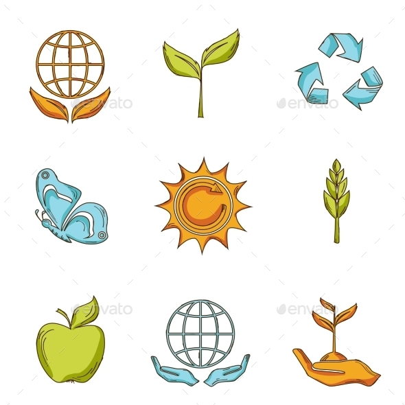 GraphicRiver Ecology and Waste Icons Set 9414221
