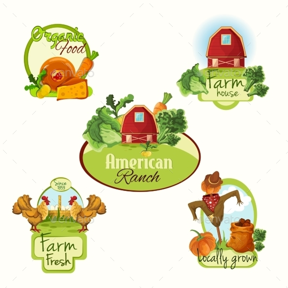 GraphicRiver Farm Fresh Labels Colored Set 9414279