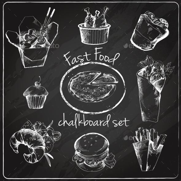 GraphicRiver Fast Food Icon Chalkboard 9414287