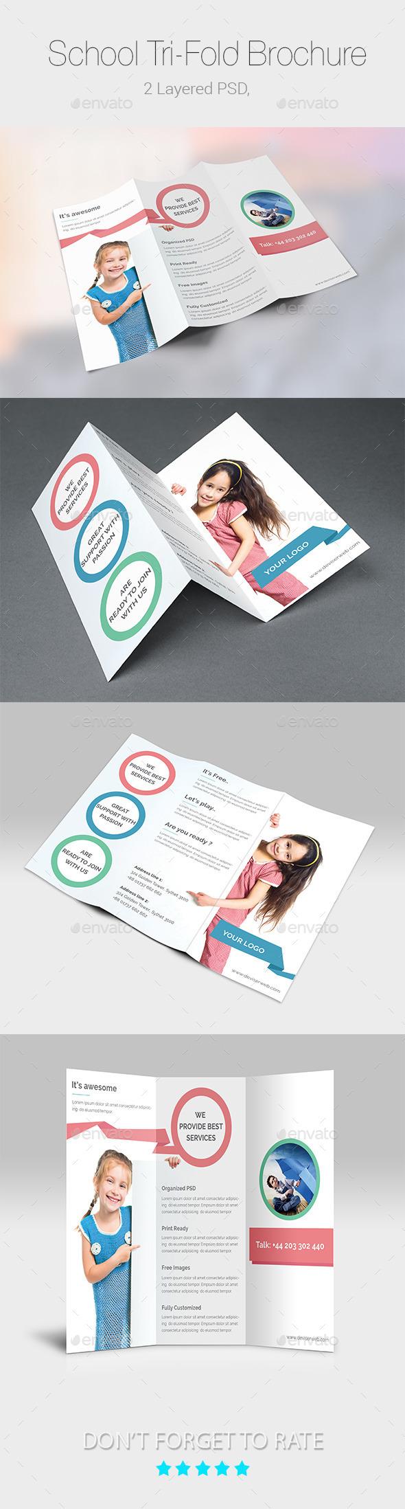 GraphicRiver School Educational Tri-Fold Brochure Templates 9417553