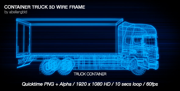 Container Truck 3D Wire Frame