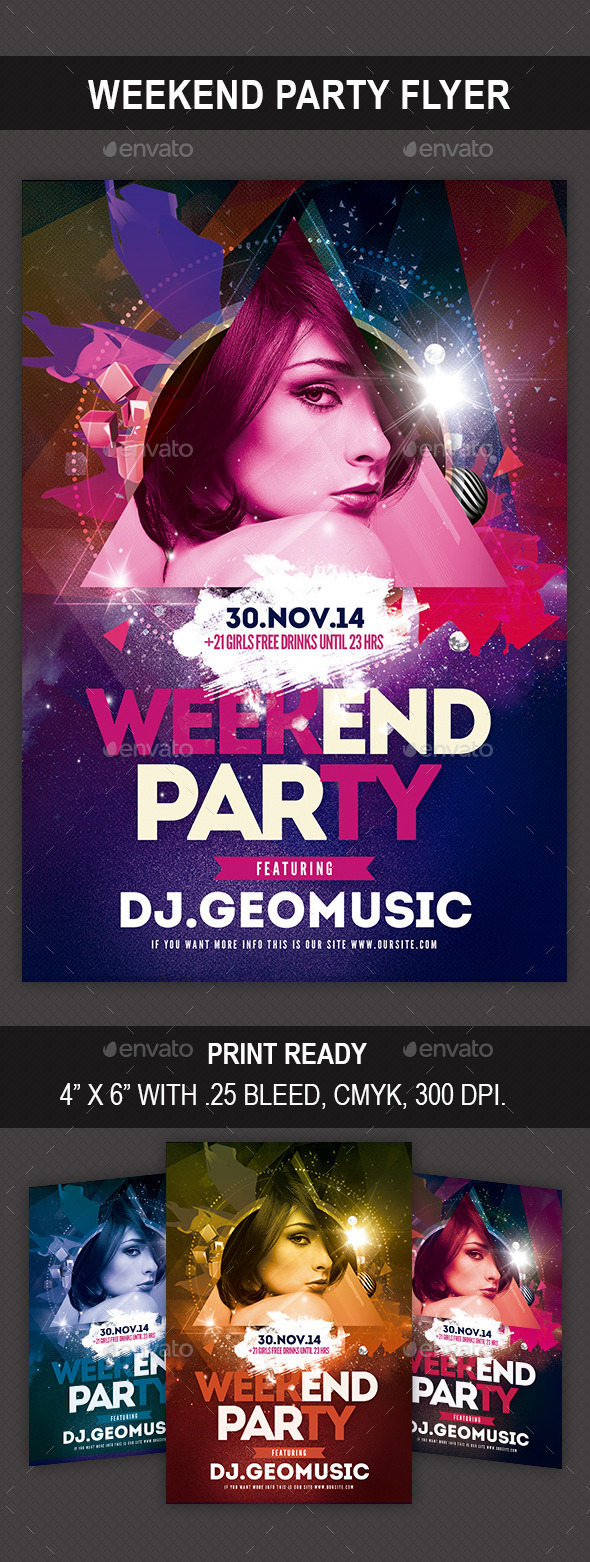 GraphicRiver Weekend Party Flyer 9423241