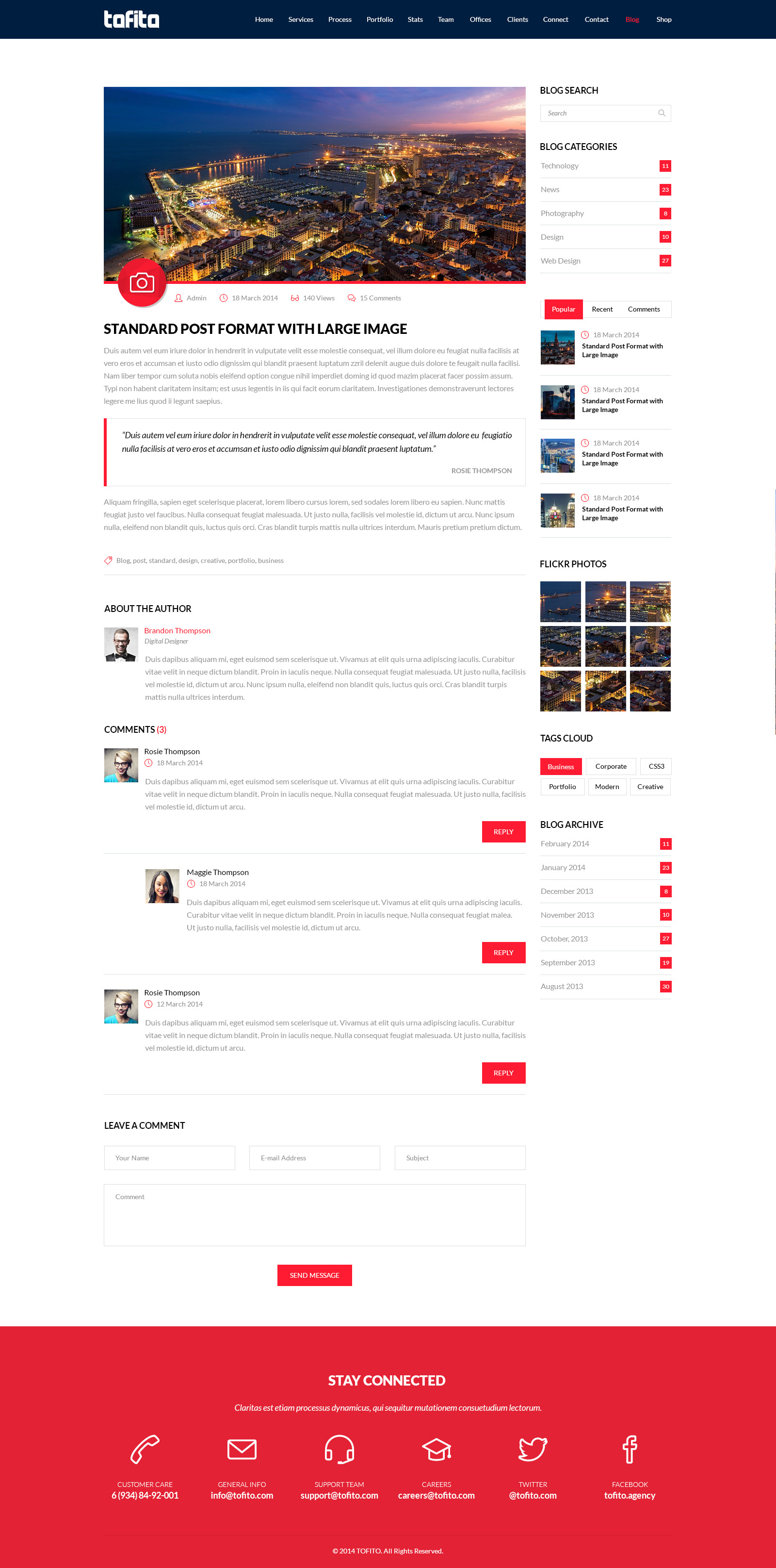 TOFITO - One Page Business Portfolio PSD Template