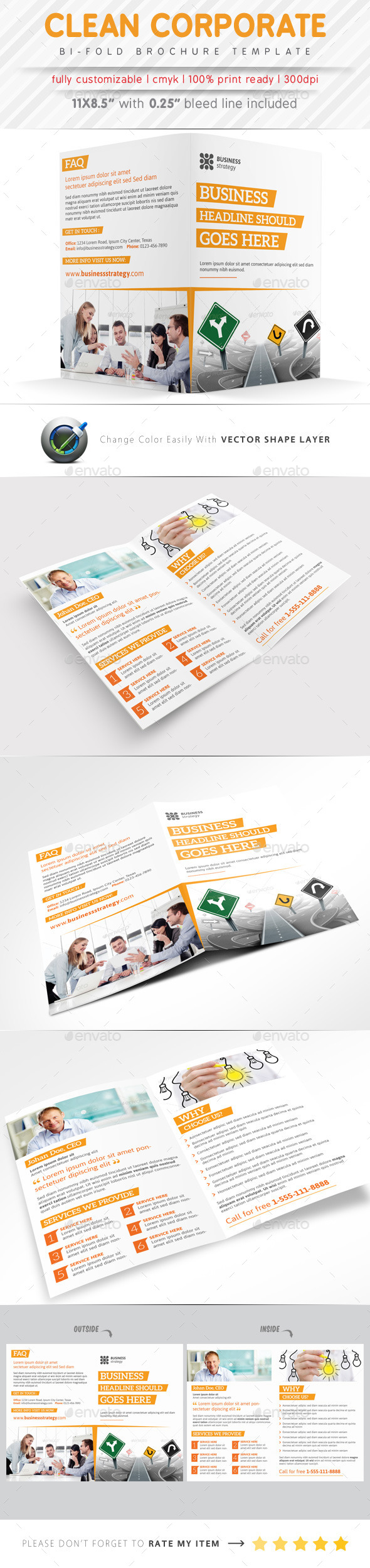 GraphicRiver Clean Corporate Bi Fold Brochure 9423780