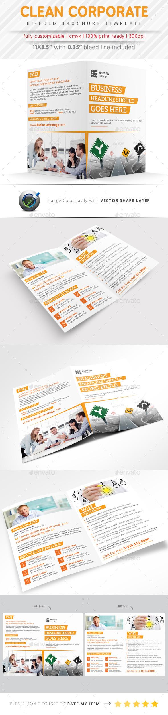 GraphicRiver Clean Corporate Bi Fold Brochure 9423780