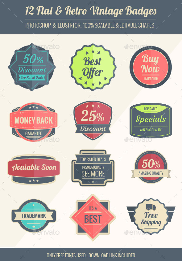 GraphicRiver vintage badges 9423818