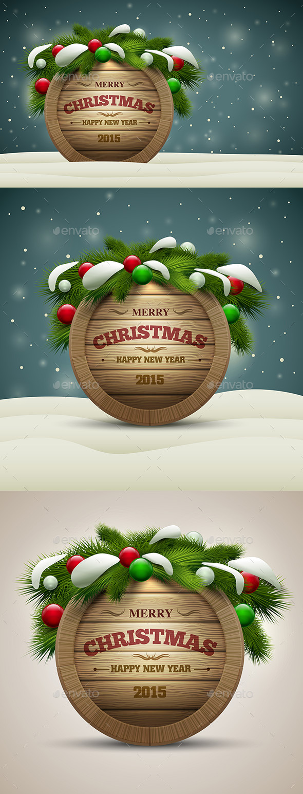 GraphicRiver Wooden Christmas Signboard 9423934