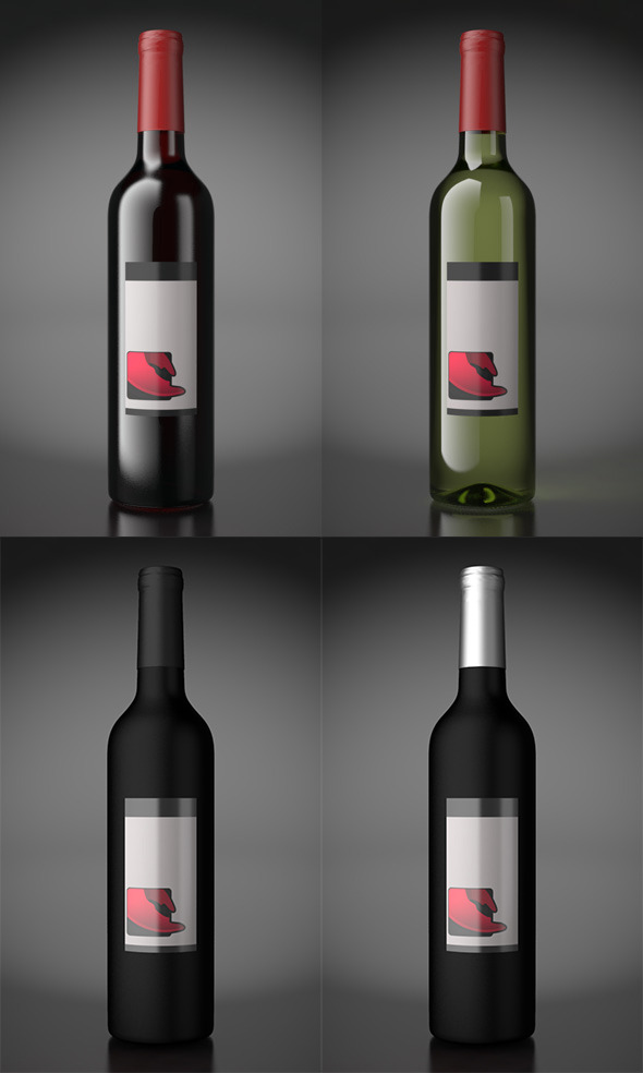 Wine bottles / with scene  - 3DOcean Item for Sale