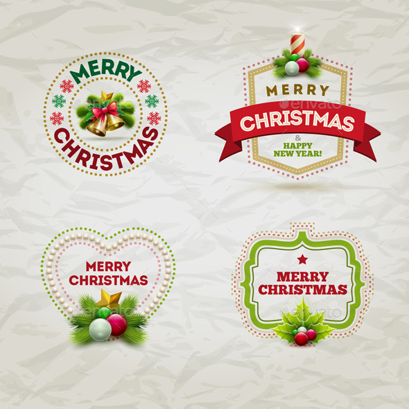 GraphicRiver Christmas Badge Set 9424277