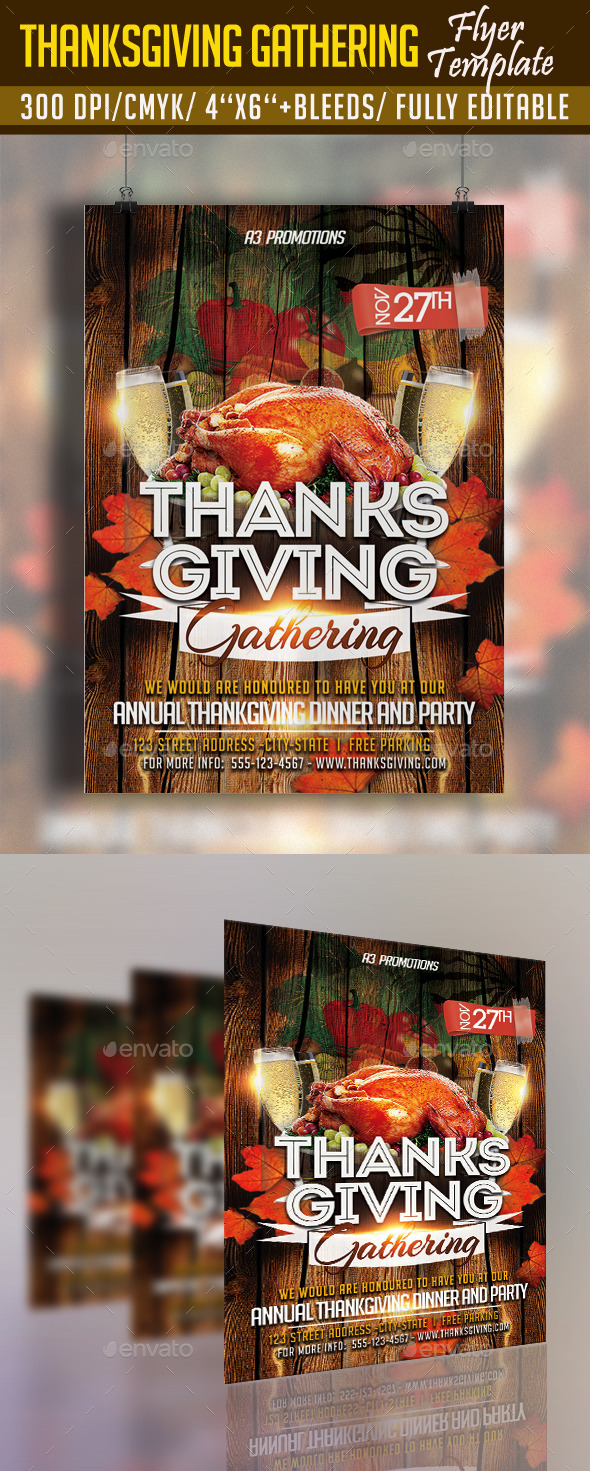GraphicRiver Thanksgiving Gathering Flyer Template 9289942