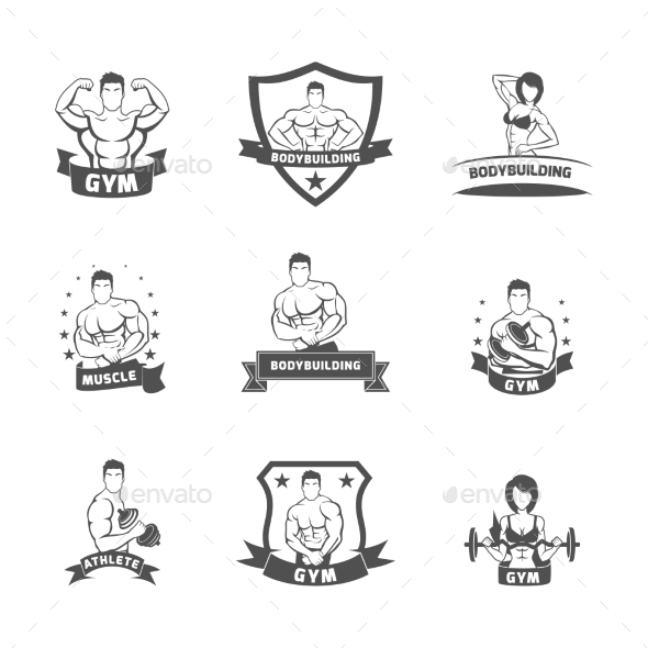 GraphicRiver Bodybuilding Fitness Gym Labels 9424821