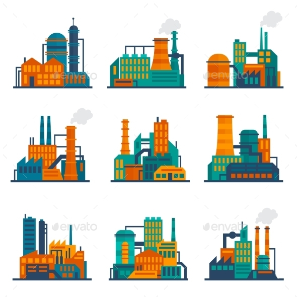 GraphicRiver Industrial Building Icons Set 9424842