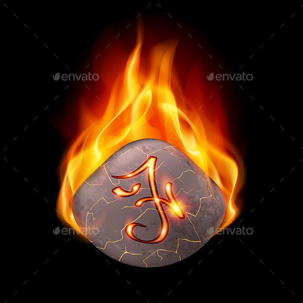 GraphicRiver Burning Stone with Magic Rune 9425067