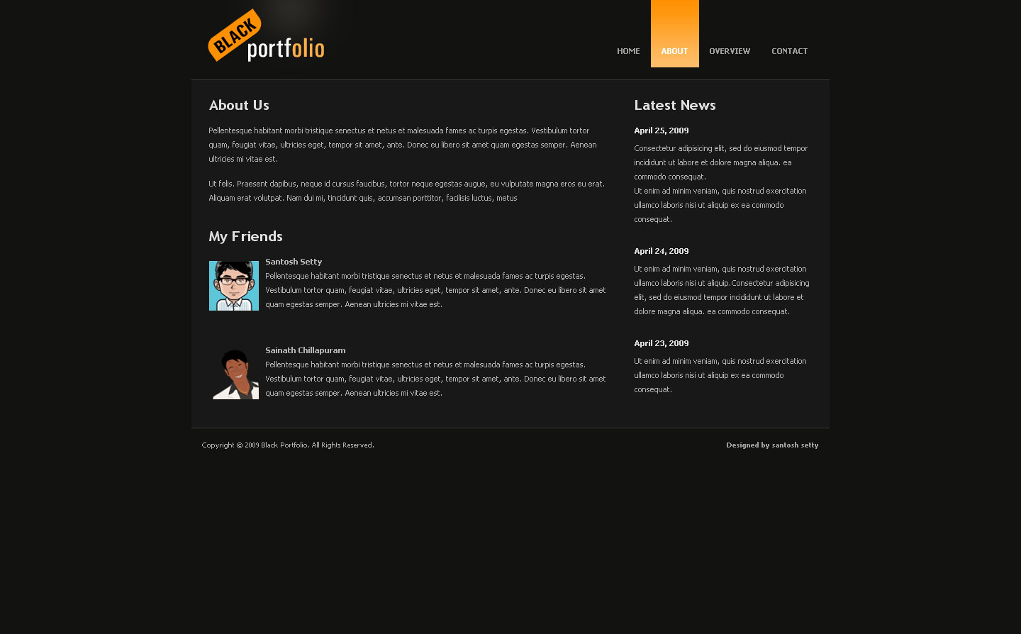 BLACK PORTFOLIO - About Page of Black Portfolio