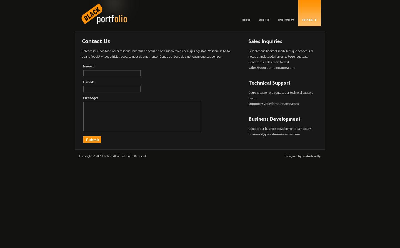 BLACK PORTFOLIO - Contact Page of Black Portfolio