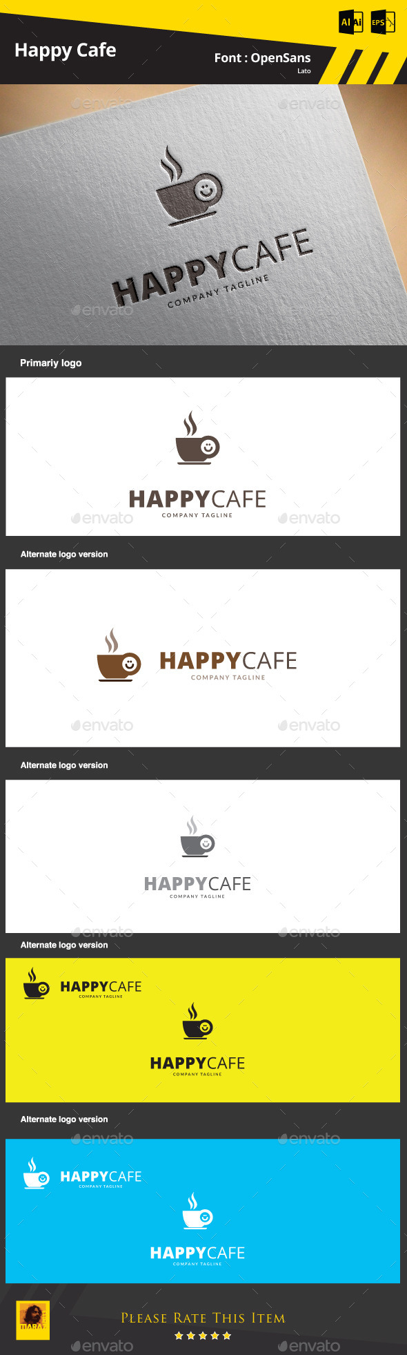 GraphicRiver Happy Cafe Logo Template 9425455