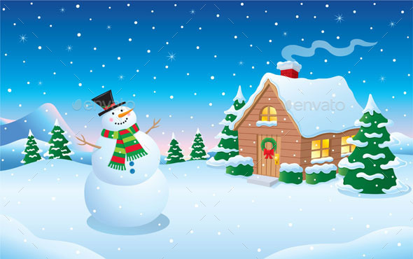 GraphicRiver Snowman and Cabin Snow Scene 9425469
