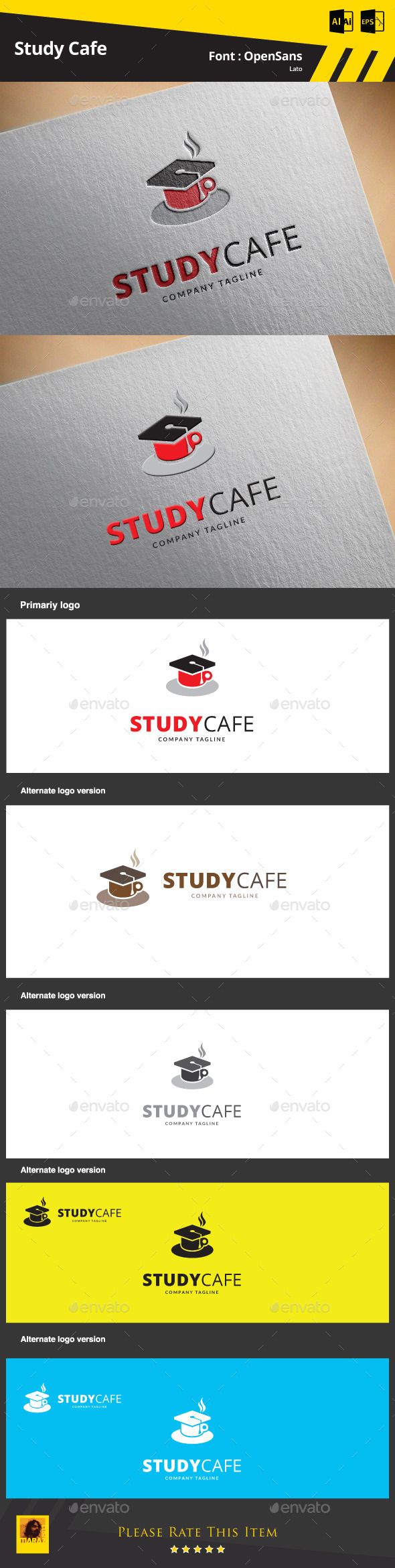 GraphicRiver Study Cafe Logo Template 9425488