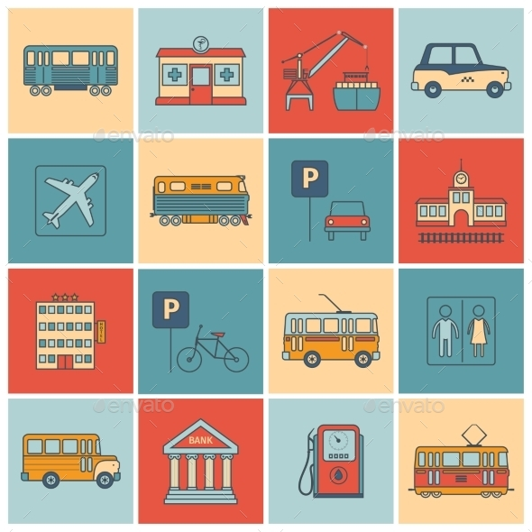 GraphicRiver City Infrastructure Icons 9425518