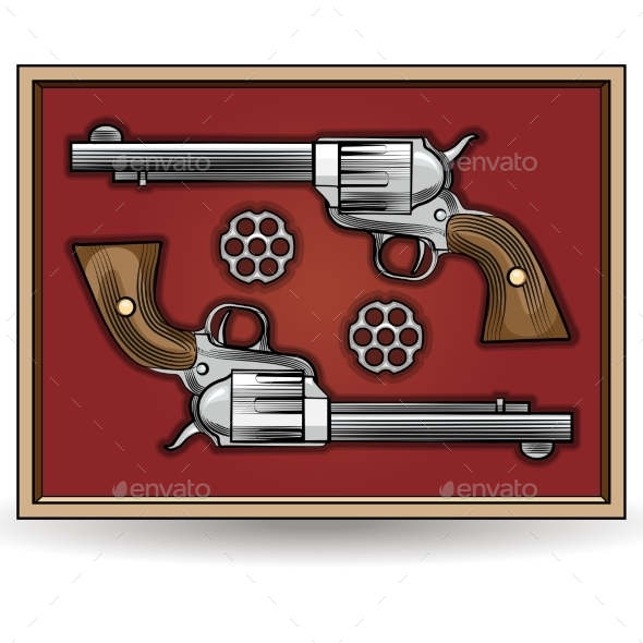 GraphicRiver Set of Revolvers Drawn in Vintage Style 9425521