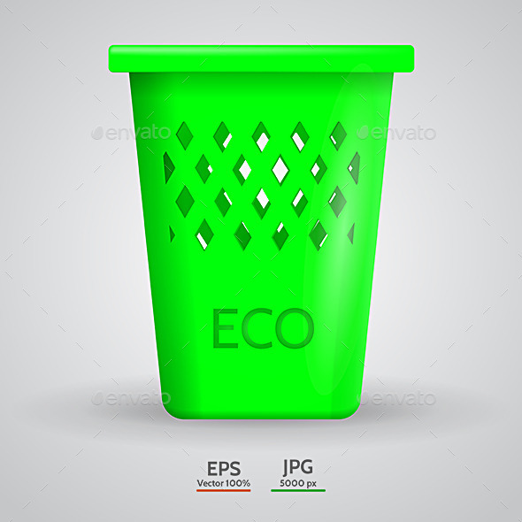 GraphicRiver Vector Illustration of Green Eco Dustbin 9425527