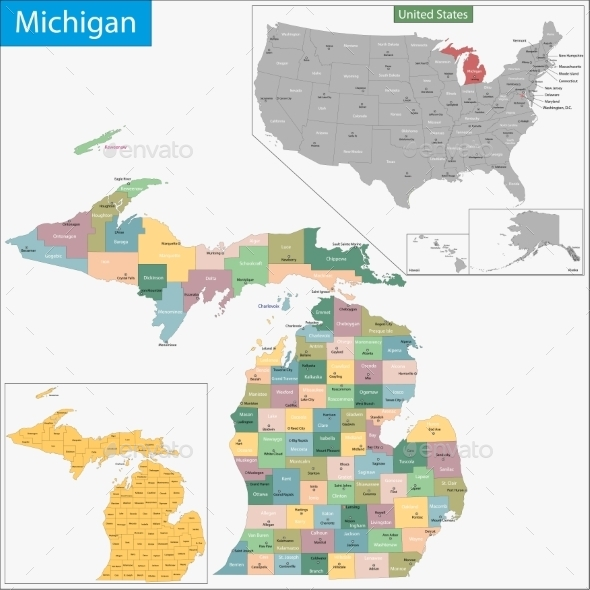 GraphicRiver Michigan Map 9425529