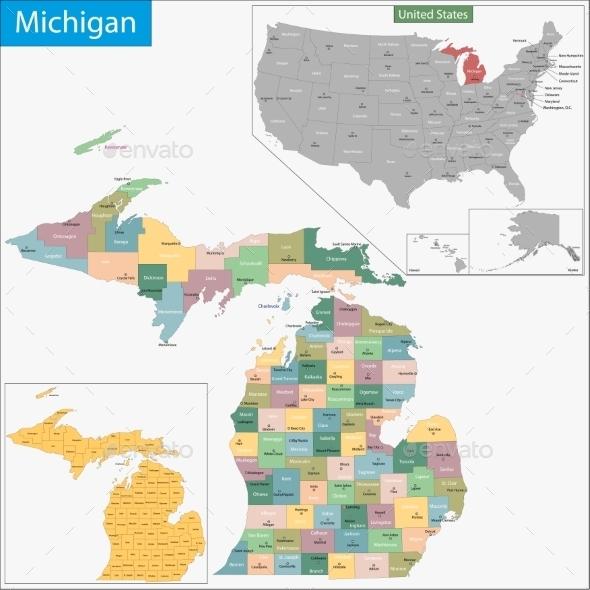 GraphicRiver Michigan Map 9425529