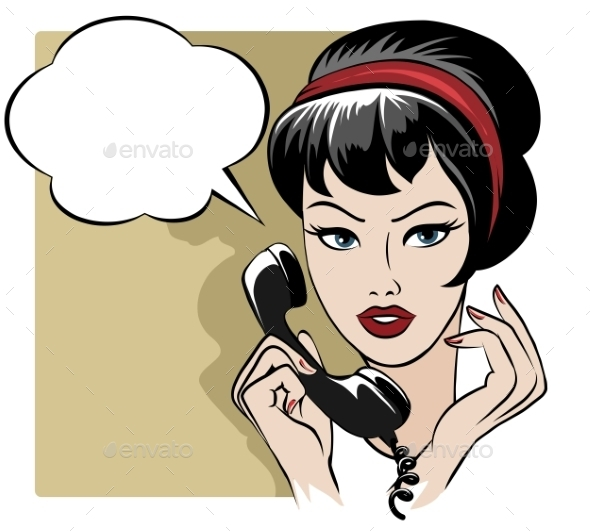 GraphicRiver The Girl Speaking by Phone with Empty Speech Bubble 9425530