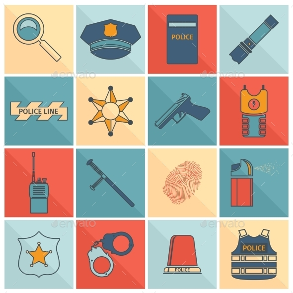 GraphicRiver Police Icons Set 9425533