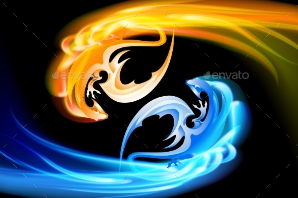 GraphicRiver The Pair of Dragons Turning in the Sky 9425534