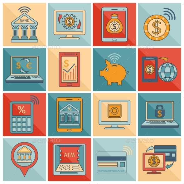 GraphicRiver Mobile Banking Symbols 9425536