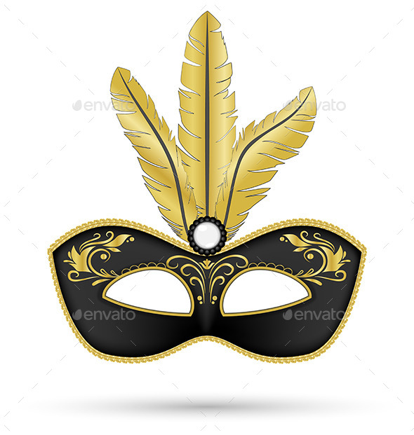 GraphicRiver Black Mask with Golden Feathers Isolated on White 9425546