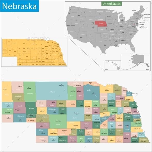 GraphicRiver Nebraska Map 9425554
