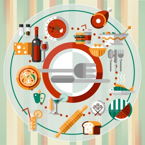 GraphicRiver Food Icons Plate 9425556