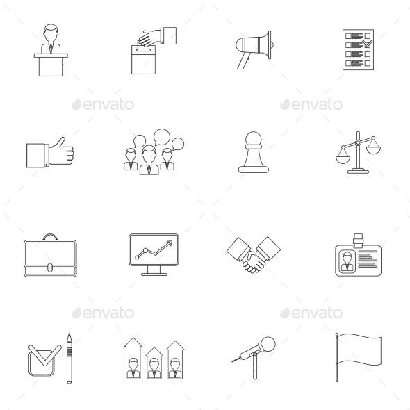 GraphicRiver Elections Icons Set Outline 9425562