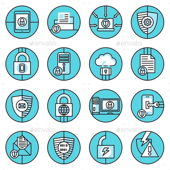 GraphicRiver Data Protection Icons Blue Line 9425575