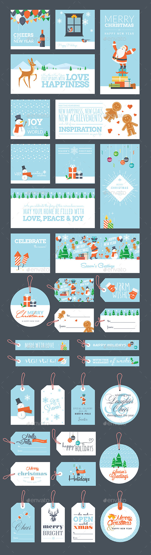 GraphicRiver Christmas and New Year Greeting Cards and Tags 9425588