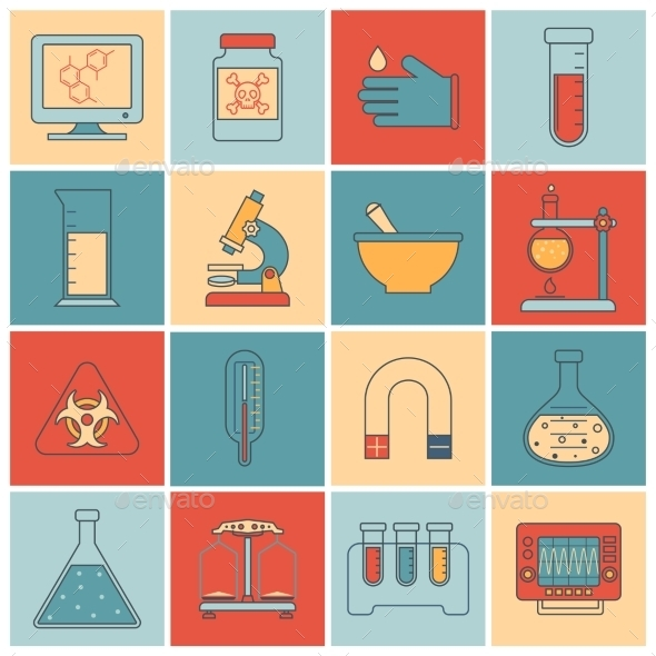 GraphicRiver Laboratory Equipment Icons Flat Line 9425594