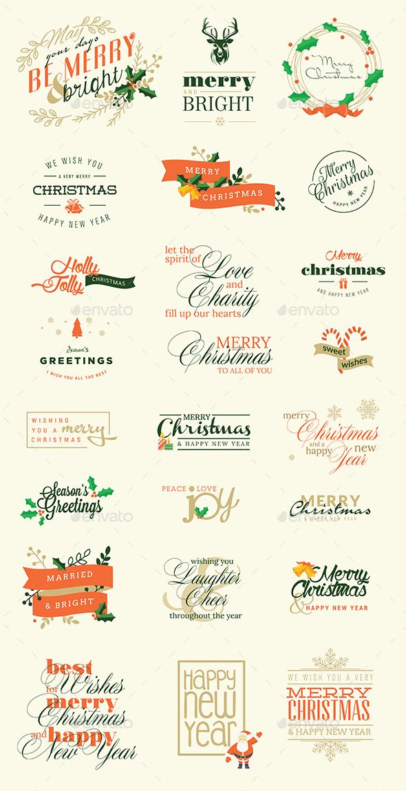 GraphicRiver Set of Christmas and New Year Signs 9425643