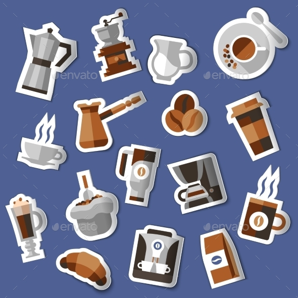 GraphicRiver Coffee Stickers Set 9425649
