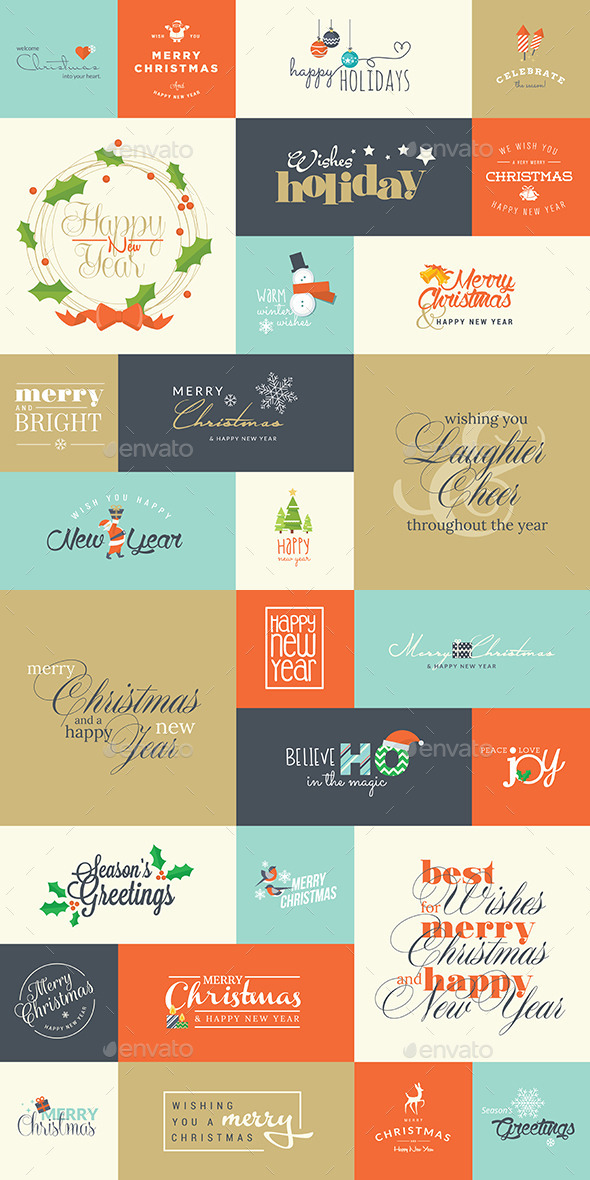 Set of Christmas and New Year Signs